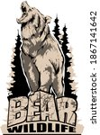 aggressive  angry bear emblem... | Shutterstock .eps vector #1867141642