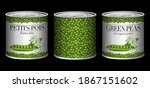 banner with 3 cans of peas with ... | Shutterstock .eps vector #1867151602