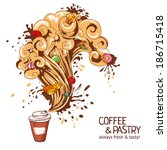coffee and pastry concept. hand ... | Shutterstock .eps vector #186715418