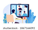 video conference. people group... | Shutterstock . vector #1867166092