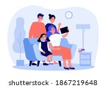 happy family using tablet for... | Shutterstock .eps vector #1867219648