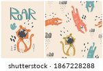 Set Of Cute Cartoon Tiger With...