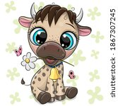 cute cartoon little bull on a... | Shutterstock .eps vector #1867307245