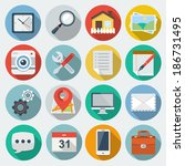flat icons with long shadow set ... | Shutterstock . vector #186731495