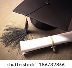 graduation cap with diploma... | Shutterstock . vector #186732866