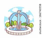 illustration of fountain | Shutterstock . vector #186740558