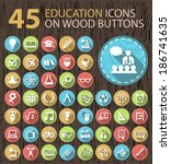 set of 45 flat education icons...   Shutterstock .eps vector #186741635