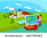 illustration of travel tourists ... | Shutterstock . vector #186744362