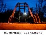 Ostrava, Czech Republic, November 17, 2020: Illuminated bridge at night over the river Lucina in Ostrava