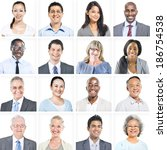 portrait of multiethnic diverse ... | Shutterstock . vector #186754538
