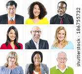 portrait of multiethnic...   Shutterstock . vector #186755732