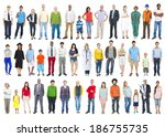 large group of multiethnic... | Shutterstock . vector #186755735