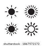 sun icon vector. simple button...