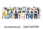multi ethnic group of diverse... | Shutterstock . vector #186760598
