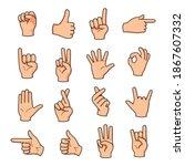 set of different gestures hand... | Shutterstock .eps vector #1867607332