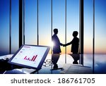 silhouettes of two businessmen... | Shutterstock . vector #186761705
