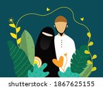 muslim couple with a collection ...   Shutterstock .eps vector #1867625155