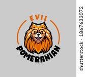 Evil Pomeranian Head Mascot Logo