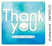 thank you card design on blue... | Shutterstock .eps vector #186765122