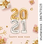 2021 golden decoration holiday... | Shutterstock .eps vector #1867673125