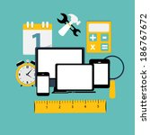 modern flat icon set for web... | Shutterstock . vector #186767672