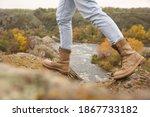 Woman Wearing Stylish Hiking...