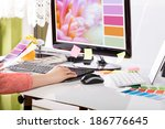 Stock photo graphic designer at work color swatch samples 186776645