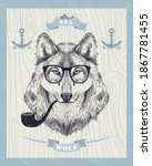 sea wolf card with smoking...   Shutterstock . vector #1867781455