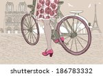 woman riding a bicycle in paris.... | Shutterstock . vector #186783332