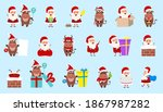 collection oxes and santa...   Shutterstock . vector #1867987282