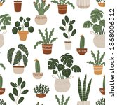 seamless pattern with home...   Shutterstock .eps vector #1868006512