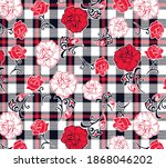 roses pattern on plaid... | Shutterstock .eps vector #1868046202