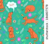 fanny pattern merry spaniel. ... | Shutterstock .eps vector #186807578
