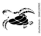 graphic black sea turtle on... | Shutterstock .eps vector #1868130985
