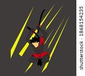 vector ninja attack in air with ... | Shutterstock .eps vector #1868154235