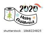 lockdown christmas 2020 merry... | Shutterstock .eps vector #1868224825