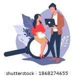 employees thinking on business... | Shutterstock .eps vector #1868274655