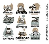Extreme adventures and expedition, off road traveling on massive cars. Labels and emblems with automobiles and dirty, outdoors summer activities and active hobbies, competition. Vector in flat style - stock vector