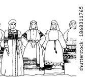 seamless border women with... | Shutterstock .eps vector #1868311765
