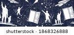 father and son  open door in... | Shutterstock .eps vector #1868326888