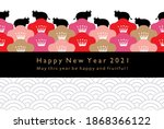 2021new year card.cow... | Shutterstock .eps vector #1868366122