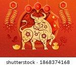 chinese new year 2021 greeting... | Shutterstock . vector #1868374168