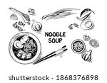 vector sketch   spicy soup with ... | Shutterstock .eps vector #1868376898