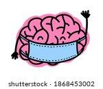 cute cartoon brain character...   Shutterstock .eps vector #1868453002