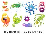 set of angry bacteria  microbes ... | Shutterstock .eps vector #1868476468