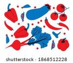 flat vegetables. cartoon vector ... | Shutterstock .eps vector #1868512228