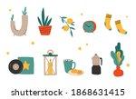 hygge decor things. winter... | Shutterstock .eps vector #1868631415