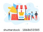 mobile shopping. people and... | Shutterstock .eps vector #1868653585