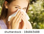 attractive young woman outdoor... | Shutterstock . vector #186865688