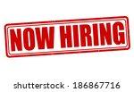 now hiring grunge rubber stamp... | Shutterstock .eps vector #186867716